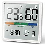 NOKLEAD Digitales Thermo-Hygrometer, Tragbares Thermometer Hygrometer Innen mit hohen Genauigkeit, Temperatur und Luftfeuchtigkeitsmesser für Raumklimakontrolle Raumluftüerwachtung Monitor (WEISS)